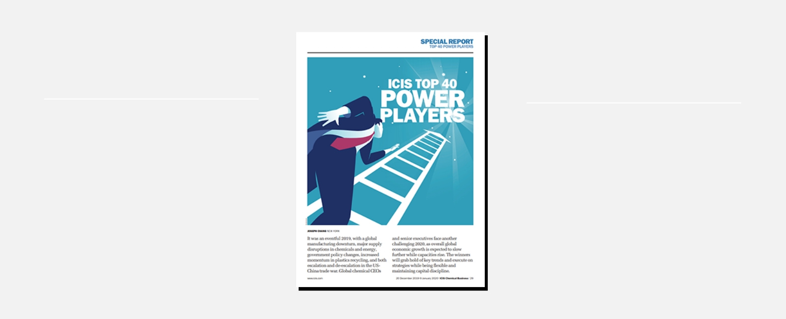 "Carlos Monreal named ""a player to watch"" by the ICIS Top 40 Power Player"